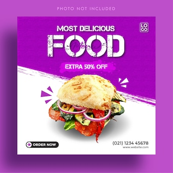 Modello di banner pubblicitario per post di instagram di social media con menu di cibo delizioso