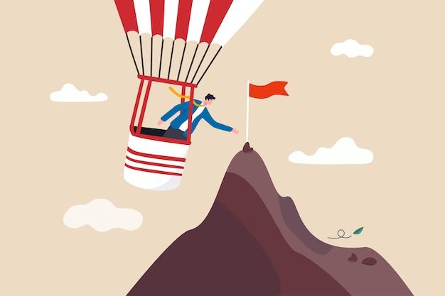 Il modo più efficiente per raggiungere l'obiettivo di business strumenti di assistenza o scorciatoia per aiutare a raggiungere l'obiettivo o il concetto di destinazione