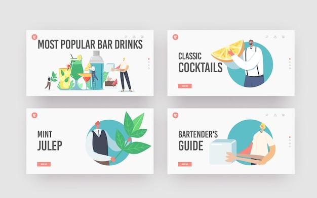 Set di modelli di pagina di destinazione delle bevande da bar più popolari. piccoli personaggi barman cucinano bevande in estate. enormi tazze di vetro con paglia, frutta, cubetti di ghiaccio in acqua succosa. fumetto illustrazione vettoriale