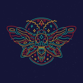 T-shirt monoline neon teschio farfalla falena design