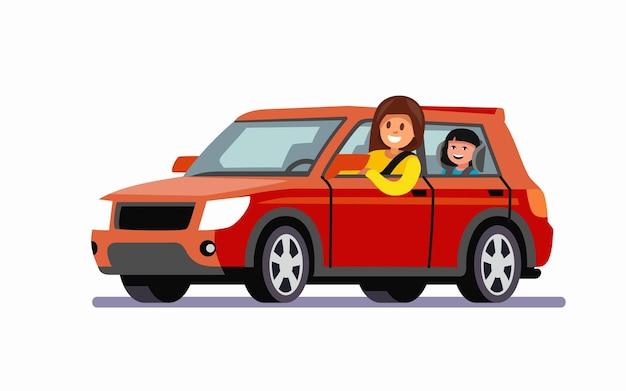 Mamma? e figlia. viaggio in famiglia in macchina rossa