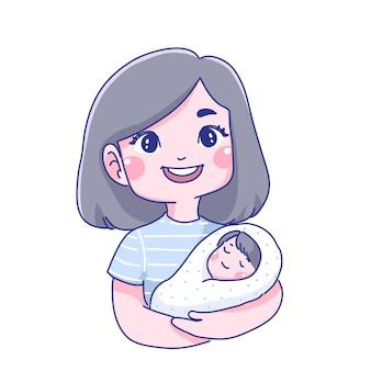 Illustrazione del fumetto del bambino e della madre