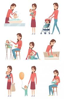 Mamma e bambino amore felice bambini che giocano con madre bambina e ragazzo figlio e figlia caratteri