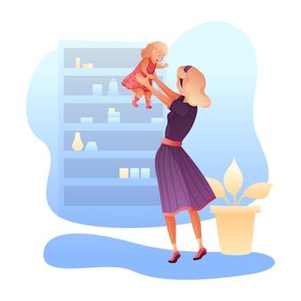 Illustrazione del bambino e della madre, giovane donna che gioca con il bambino sveglio.