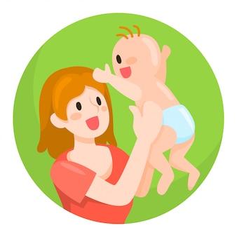 Illustrazione di mamma e bambino