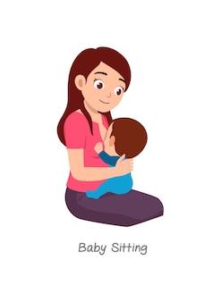 Madre che allatta il bambino con una posa chiamata baby sitter