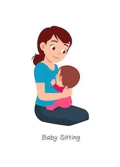 Madre che allatta il bambino con una posa chiamata baby sitting