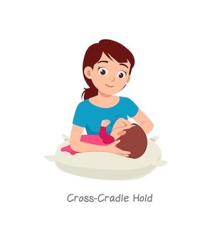 Madre che allatta il bambino con una posa chiamata croce culla stretta