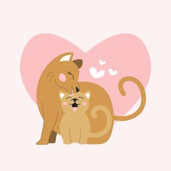 Madre gatto con bambino