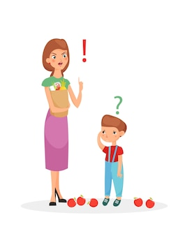 Il carattere della madre punisce sone. mamma che rimprovera suo figlio sconvolto, stile cartone animato piatto.