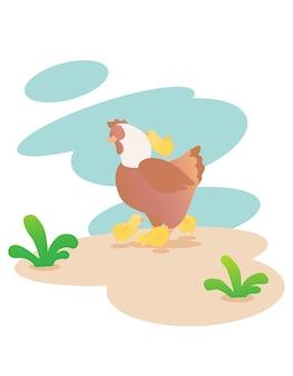 Madre e pulcini cercano cibo. buono e ottimo per l'istruzione e la raccolta di vettori di animali carini