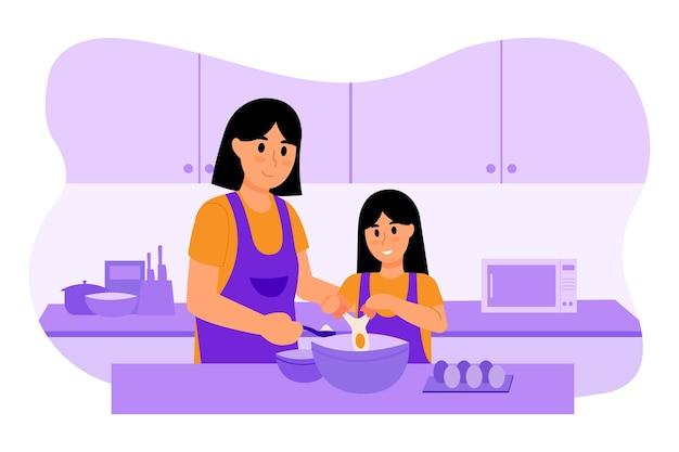 Illustrazione di cucina madre e figlio