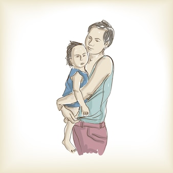 Una madre e un bambino disegno a mano libera e illustrazione
