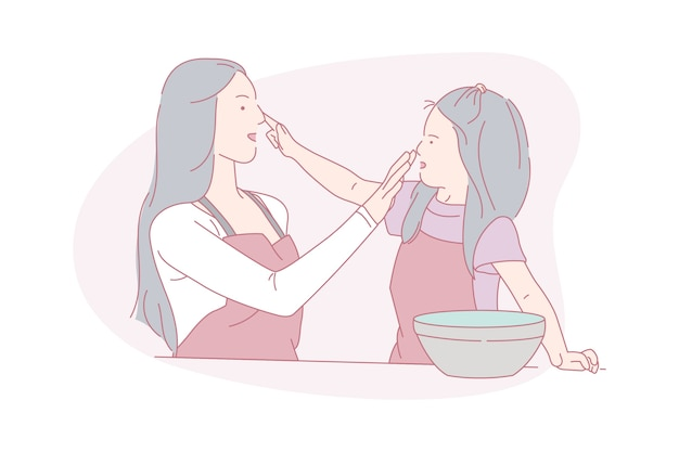 Madre e bambino, felice di cucinare, illustrazione di concetto