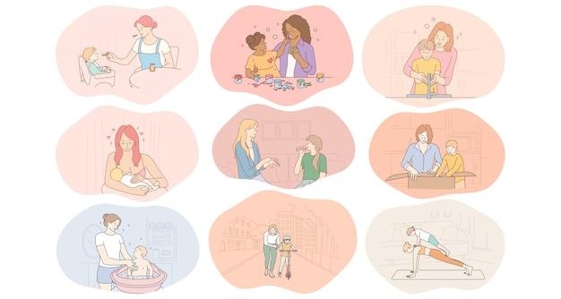 Madre e figlio, maternità, attività domestiche con il concetto di bambini.