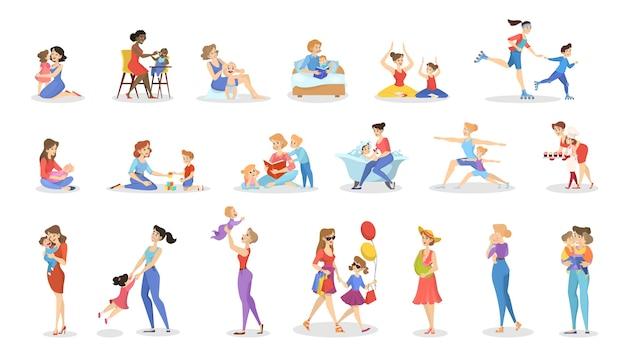 Set madre e bambino. raccolta di attività di famiglia.
