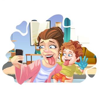 Madre e bambino che prendono selfie / mamma moderna