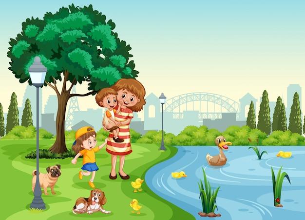 Madre e figli al parco Vettore Premium