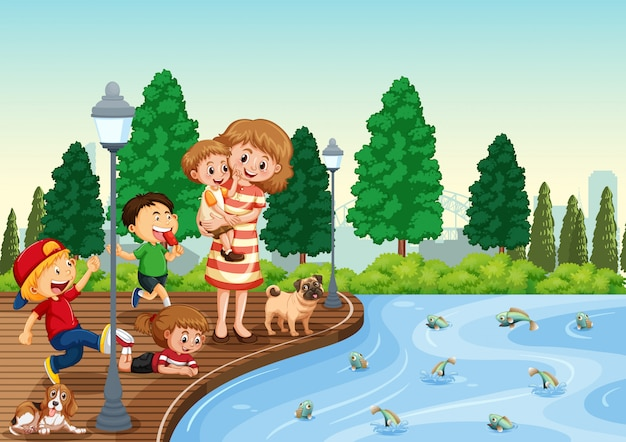 Madre e figli al parco