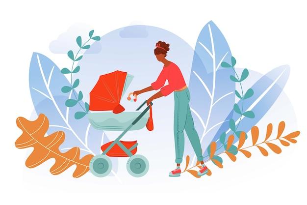Madre città cammina bambino, donna passeggino insieme, vita di maternità, mamma felice, illustrazione di stile. passeggiate passeggino trasporto bambino, genitorialità maternità, all'aperto.