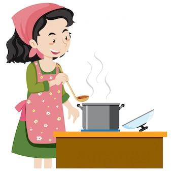 Una madre che cucina la zuppa