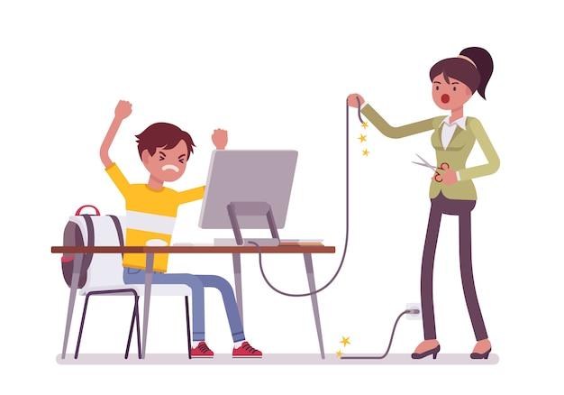 La madre taglia il filo del computer