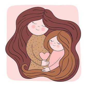 Madre e figlia in un abbraccio. concetto per la festa della mamma, la famiglia, l'amore, il biglietto di auguri. illustrazione carina con persone