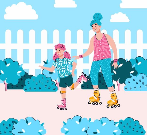 Madre e figlia pattinano insieme i rulli del fumetto
