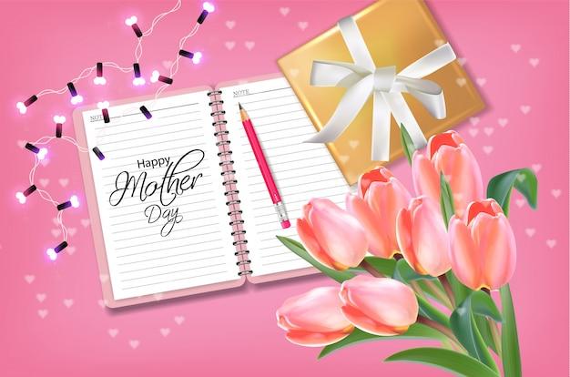 Scheda di giorno della madre con bouquet di tulipani