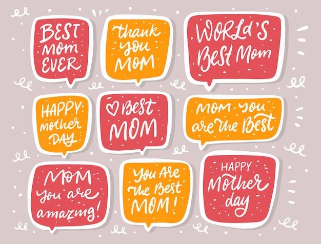 Testo di doodle di festa della mamma nel set di bolle di discorso