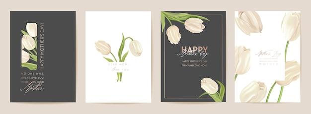 Biglietto per la festa della mamma. illustrazione vettoriale floreale di primavera. saluto realistico modello di fiori di tulipano, sfondo di fiori moderni, cartolina di mamma e bambino, design moderno per feste estive, copertina per le madri