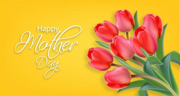 Fiori del tulipano di giorno di madre
