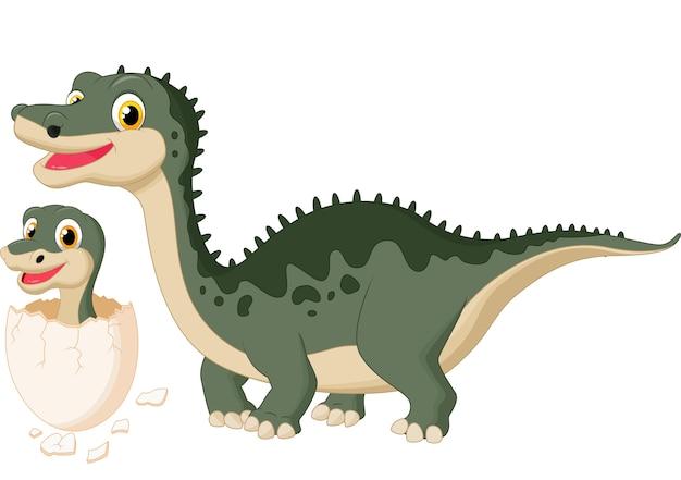 Madre dinosauro con bambino che cova