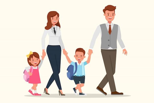 Madre, padre e figli insieme.