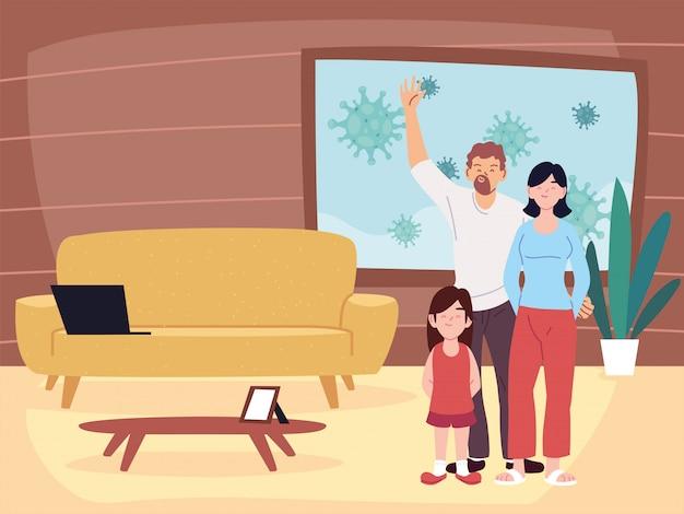 Cartoni animati madre padre e figlia nel vettore della stanza di casa