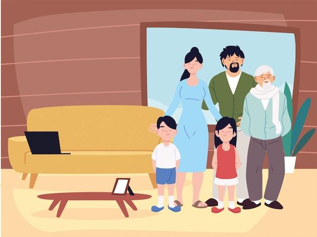 Madre, padre, figlia e figlio con i cartoni del nonno nel vettore della stanza di casa