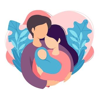 Madre e padre che tengono il loro bambino appena nato. coppia di marito e moglie diventano genitori. uomo che abbraccia la donna con il bambino. maternità, paternità, genitorialità.