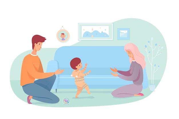 Madre e padre che insegnano al bambino a camminare