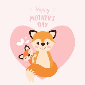 Madre volpe con bambino