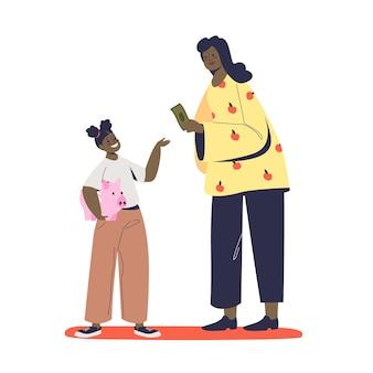Madre che dà a suo figlio la paghetta