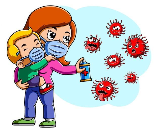 La madre e il suo bambino spruzzano per pulire il virus corona