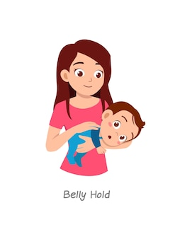 Madre che tiene in braccio il bambino con una posa chiamata pancia stretta