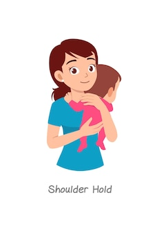 Madre che tiene in braccio il bambino con una posa chiamata presa sulla spalla