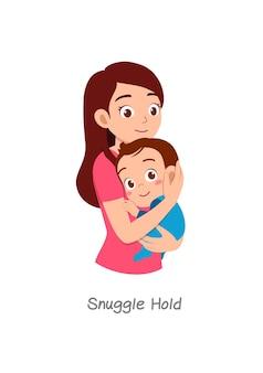 Madre che tiene in braccio il bambino con una posa chiamata snuggle hold