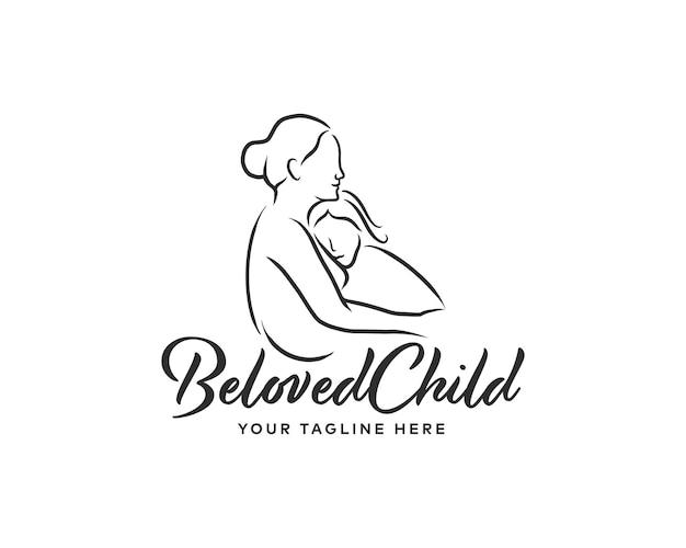 Una madre che abbraccia il logo in stile linea della figlia. modello di progettazione del logo per l'infanzia
