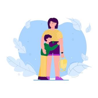 Madre che abbraccia il figlio a sfondo di foglie, illustrazione piatta isolata.