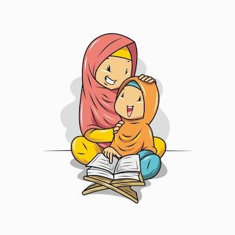 Una madre sta insegnando a sua figlia a leggere il corano