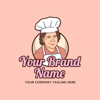 Mother kitchen and bakery vector illustration logo template con sfondo rosa