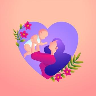 La madre ama il suo bambino con un cuore e un fiore