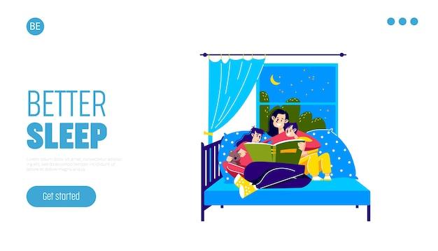 Madre che legge ai bambini prima di dormire mamma e bambini leggono insieme fiabe